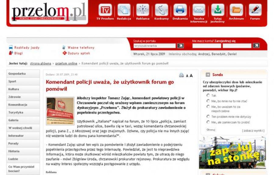 Komendant chrzanowskiej policji mówi co innego niż prokuratura
