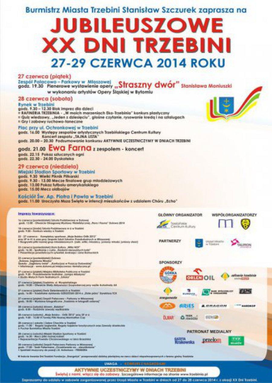 Program jubileuszowych XX Dni Trzebini 2014