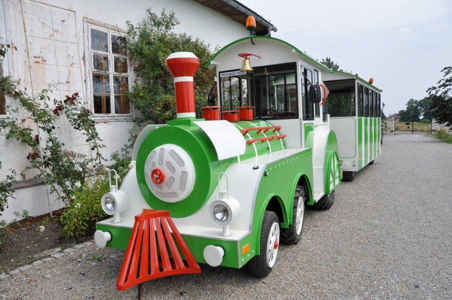 Lokomotywa turystyczna pod dworem w Wygiełzowie