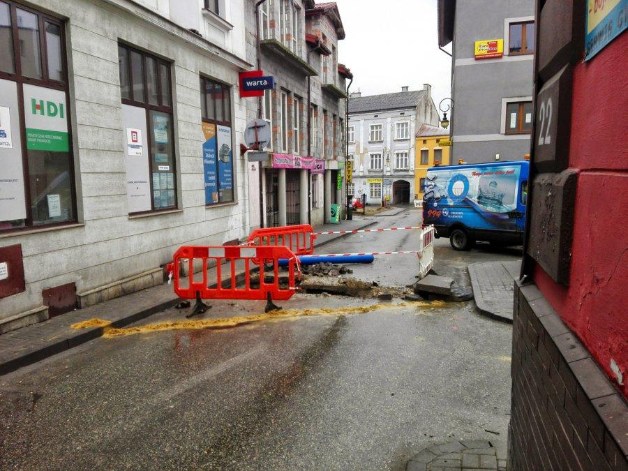Zamknięta droga w centrum Chrzanowa
