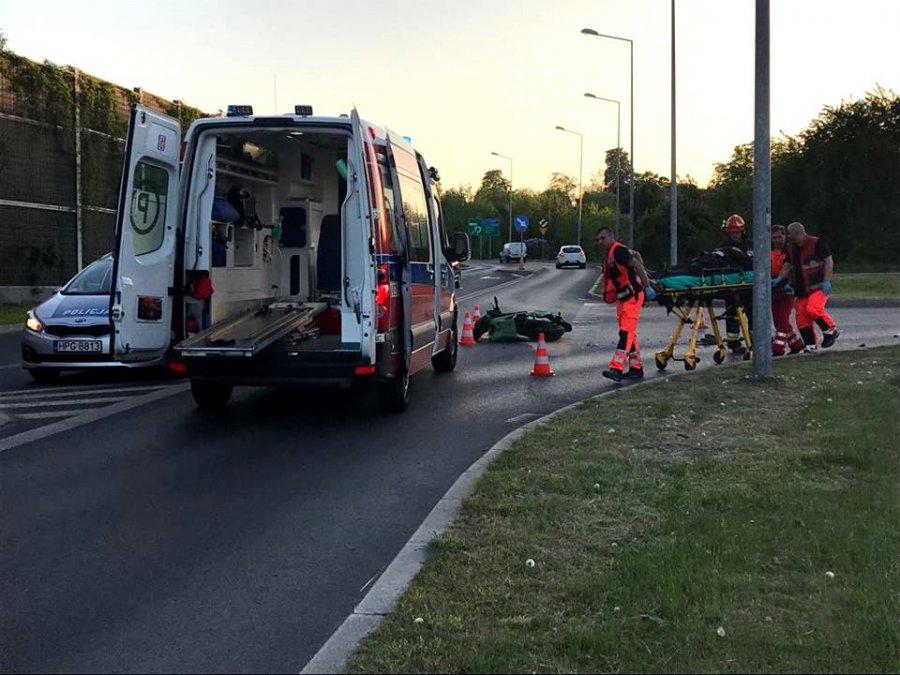 Karetka zabrała rannego motocyklistę (WIDEO)