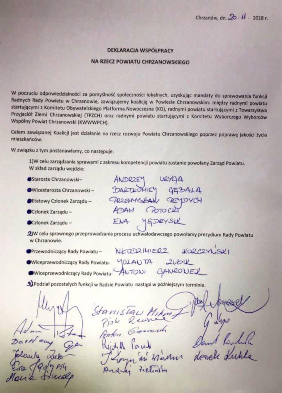 To jednak Andrzej Uryga ma zostać starostą. PO przejęła inicjatywę koalicyjną
