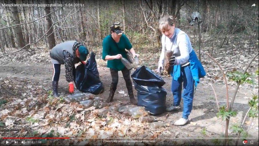 Mieszkańcy Bolęcina zakasali rękawy i posprzątali las (WIDEO)