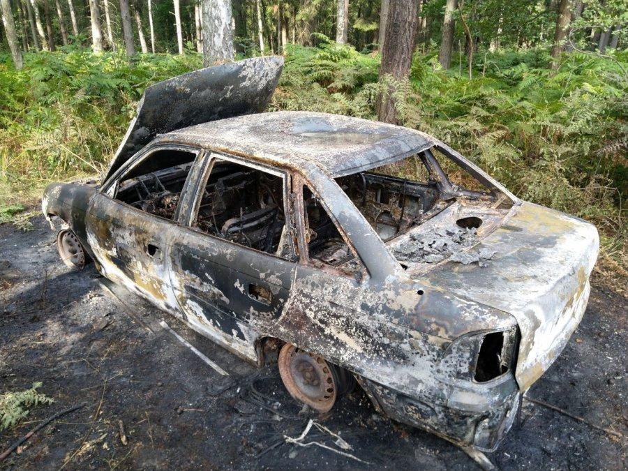 Kolejny samochód spalił się w lesie