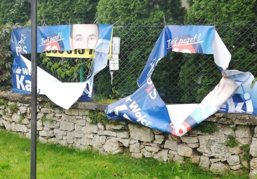 Banery kandydatów PiS-u zniszczone przez wandali