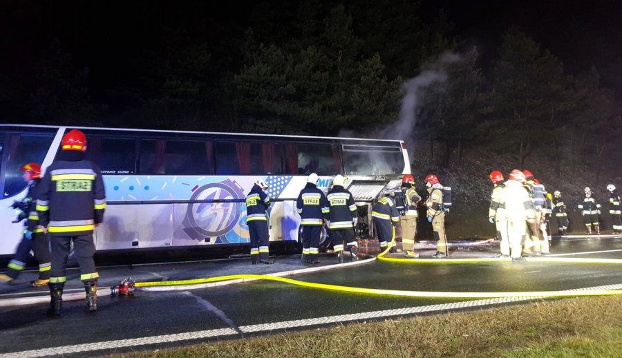Pożar autobusu na autostradzie A4
