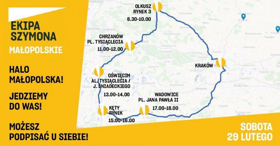 Ekipa Szymona Hołowni jutro w Małopolsce zachodniej. Do Chrzanowa zawita przed południem