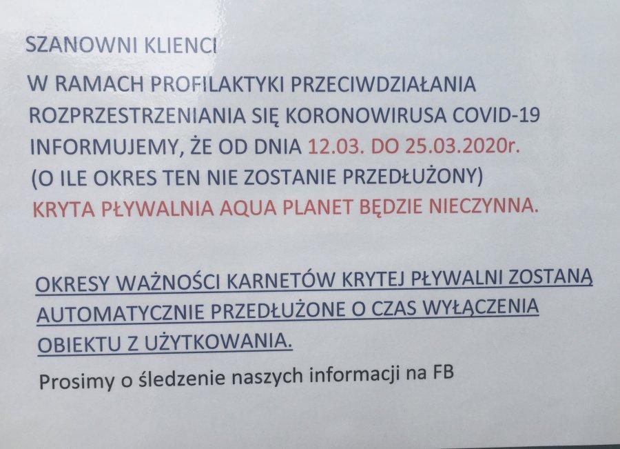 Koronawirus. Baseny zamknięte do 25 marca
