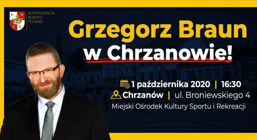Poseł Grzegorz Braun przyjedzie do Chrzanowa