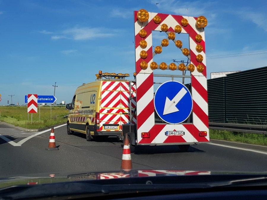 Korki na autostradzie A4 po wypadkach