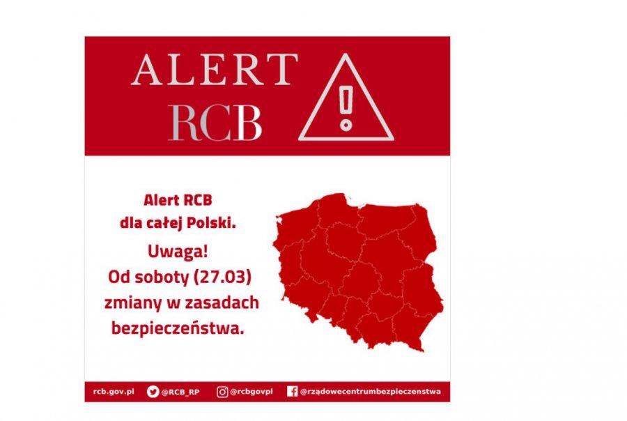 Alert RCB. Od soboty zaostrzone zasady bezpieczeństwa