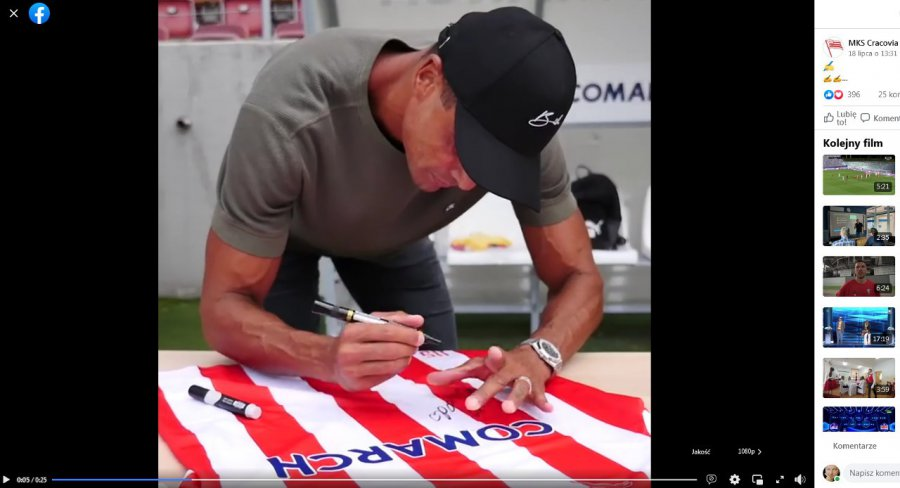 Koszulka Cracovii z podpisem Rivaldo trafiła na licytację dla Janka Kozuba
