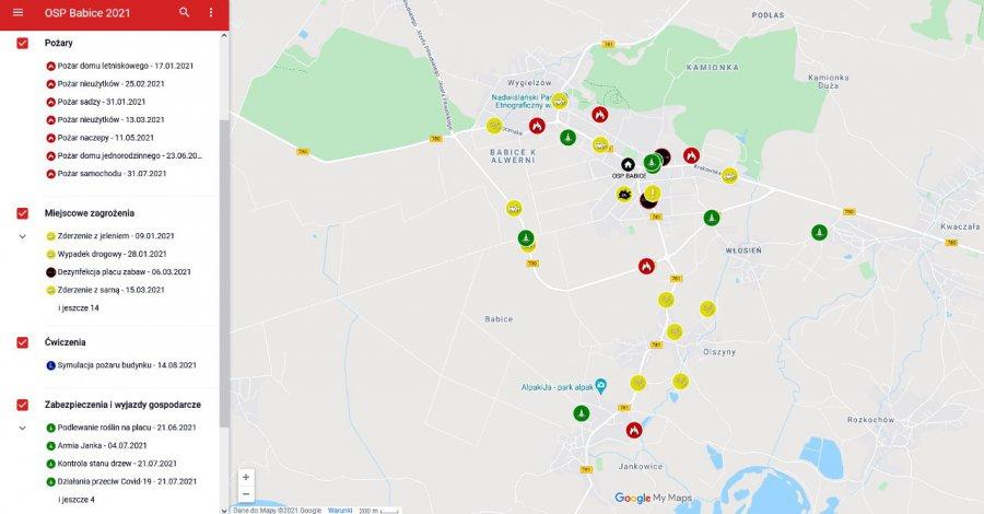 Na interaktywnej mapie sprawdzisz co robili strażacy z Babic